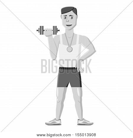 Athlete icon. Gray monochrome illustration of athlete vector icon for web