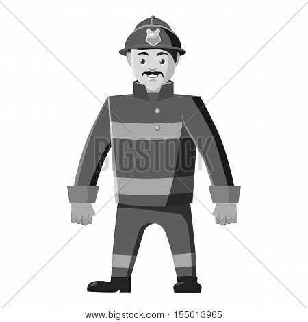 Firefighter icon. Gray monochrome illustration of firefighter vector icon for web