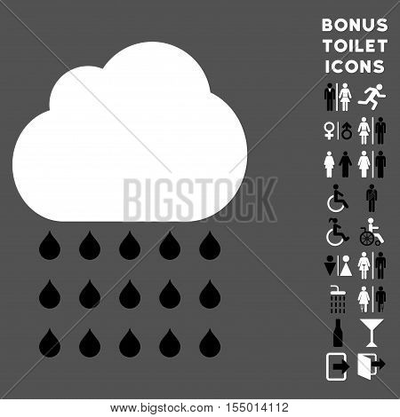 Rain Cloud icon and bonus male and lady toilet symbols. Vector illustration style is flat iconic bicolor symbols, black and white colors, gray background.