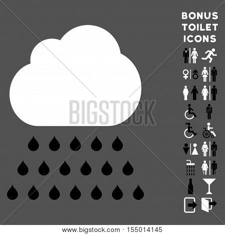 Rain Cloud icon and bonus man and woman WC symbols. Vector illustration style is flat iconic bicolor symbols, black and white colors, gray background.