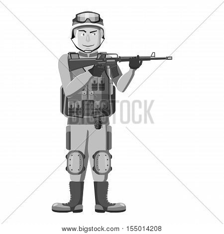 Infantryman with weapons icon. Gray monochrome illustration of infantryman with weapons vector icon for web