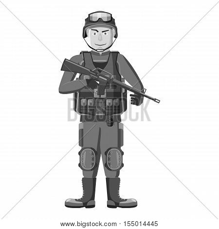 Soldier with weapons icon. Gray monochrome illustration of soldier with weapons vector icon for web