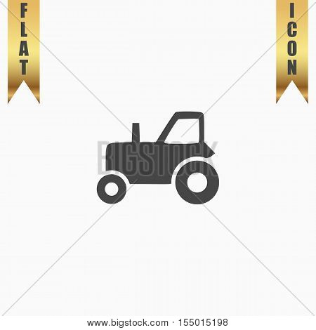 Tractor. Flat Icon. Vector illustration grey symbol on white background with gold ribbon