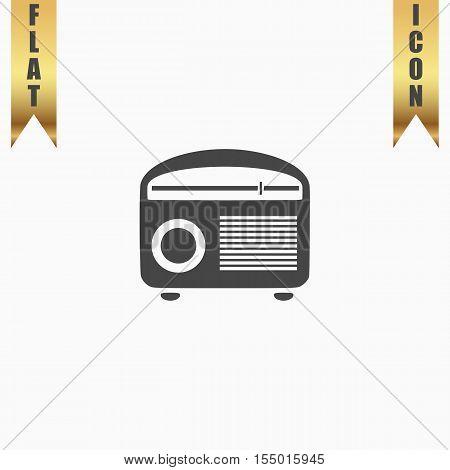 Retro revival radios tuner. Flat Icon. Vector illustration grey symbol on white background with gold ribbon