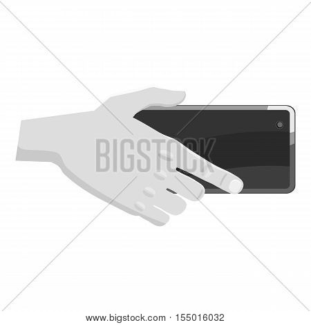 Hand holding mobile phone icon. Gray monochrome illustration of hand holding mobile phone vector icon for web