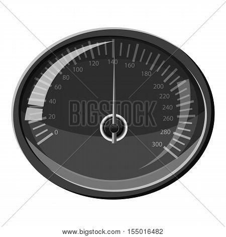 Speedometer 140 km in hour icon. Gray monochrome illustration of speedometer 140 km in hour vector icon for web