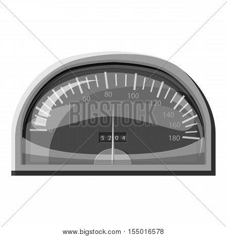 Speedometer for cars icon. Gray monochrome illustration of speedometer for cars vector icon for web