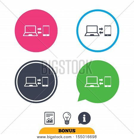 Synchronization sign icon. Notebook with smartphone sync symbol. Data exchange. Report document, information sign and light bulb icons. Vector
