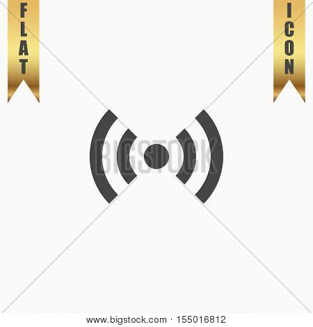 Flat Wi-Fi. Flat Icon. Vector illustration grey symbol on white background with gold ribbon