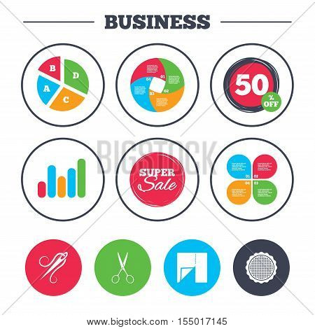 Business pie chart. Growth graph. Textile cloth piece icon. Scissors hairdresser symbol. Needle with thread. Tailor symbol. Canvas for embroidery. Super sale and discount buttons. Vector