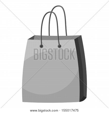 Bag with handles icon. Gray monochrome illustration of bag with handles vector icon for web