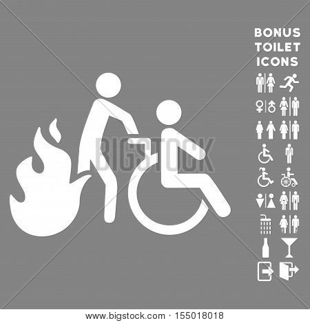 Fire Patient Evacuation icon and bonus male and lady restroom symbols. Vector illustration style is flat iconic symbols, white color, gray background.