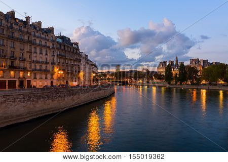 View Of The Seine At Dusk