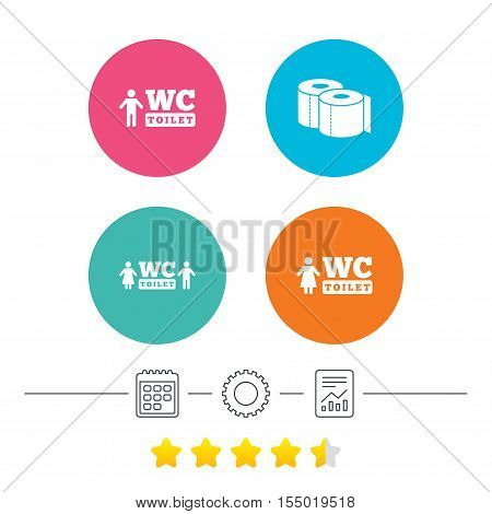 Toilet paper icons. Gents and ladies room signs. Man and woman symbols. Calendar, cogwheel and report linear icons. Star vote ranking. Vector