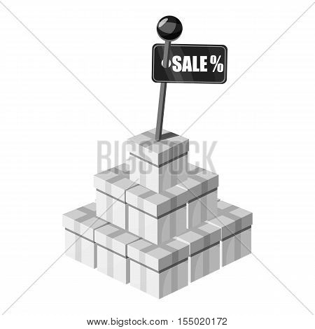 Pile of boxes with sale sign icon. Gray monochrome illustration of pile of boxes vector icon for web