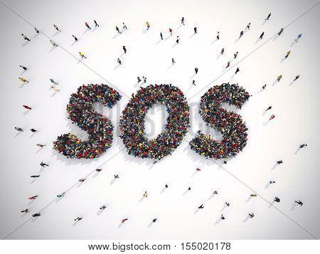 3D Rendering crowd of people united forming the word sos. 3D Rendering