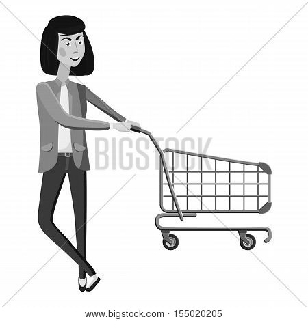 Woman with empty shopping cart icon. Gray monochrome illustration of woman with empty shopping cart vector icon for web