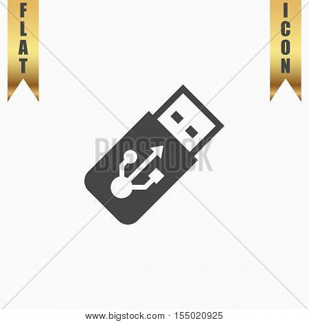 Usb flash drive. Flat Icon. Vector illustration grey symbol on white background with gold ribbon