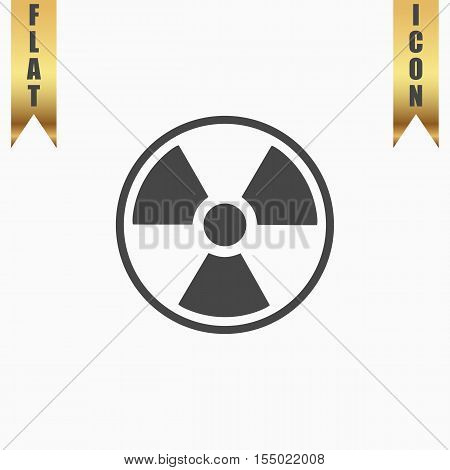 Radiation Flat Icon. Vector illustration grey symbol on white background with gold ribbon