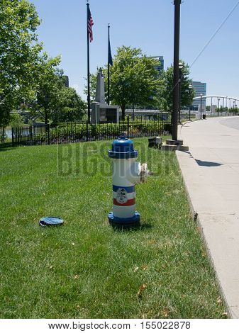 Columbus Police Fire Hydrant with the Columbus Police Memorial in the background in Columbus Ohio