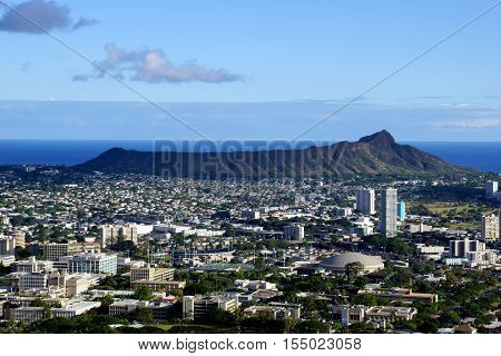 Aerial view of Diamondhead and the city of Honolulu Kaimuki Kahala and oceanscape on Oahu on a nice day.