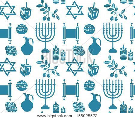 Hanukkah symbol seamless pattern. Hanukkah background with Menorah Torah Sufganiyot Olives and Dreidel. Happy Hanukkah Festival of Lights Feast of Dedication seamless texture. Vector illustration