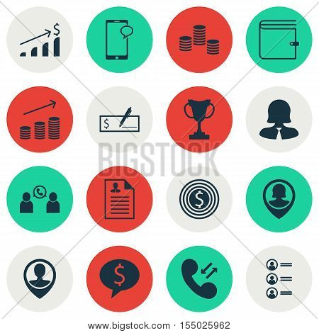 Set Of Human Resources Icons On Messaging, Employee Location And Phone Conference Topics. Editable V