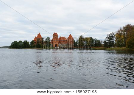 Trakai Lithuania - October 16 2016: Trakai castle on the lakes is visited by hundreds of thousands of tourists every year.