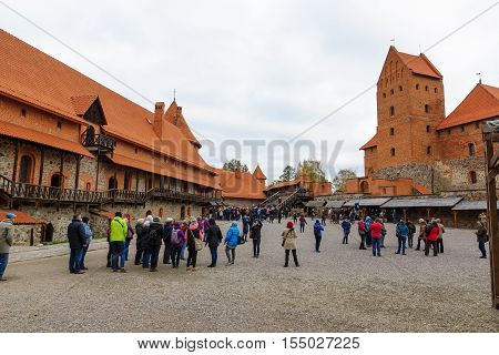 Trakai Lithuania - October 16 2016: Trakai castle on the lakes is visited by hundreds of thousands of tourists every year. The courtyard of the castle.