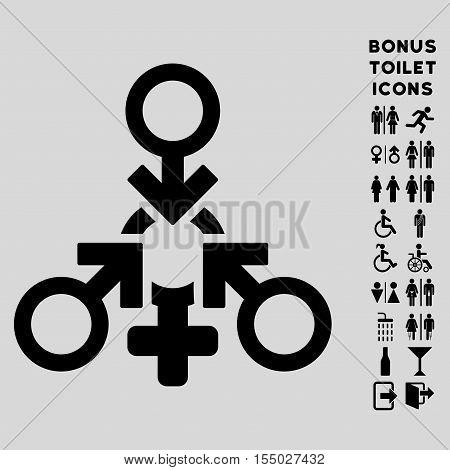 Triple Penetration Sex icon and bonus man and female toilet symbols. Vector illustration style is flat iconic symbols, black color, light gray background.