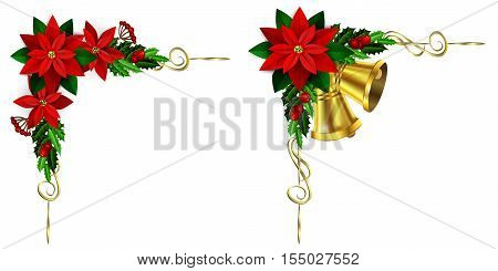 Christmas corner decoration set with evergreen treess golden swirls and poinsettia with two golden bells isolated