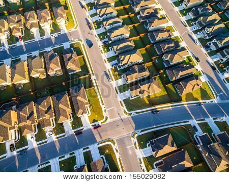 Aerial Looking down Over Houses New Development Suburbs outside of Austin near Round Rock Texas same houses over and over