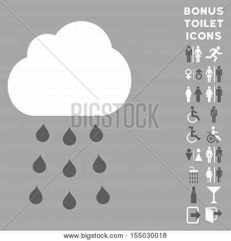 Rain Cloud icon and bonus gentleman and lady restroom symbols. Vector illustration style is flat iconic bicolor symbols, dark gray and white colors, silver background.