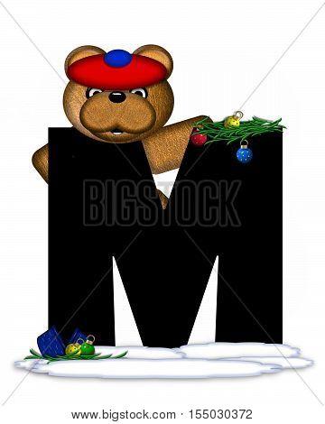 Alphabet Teddy Christmas Boughs M