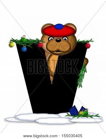 Alphabet Teddy Christmas Boughs V