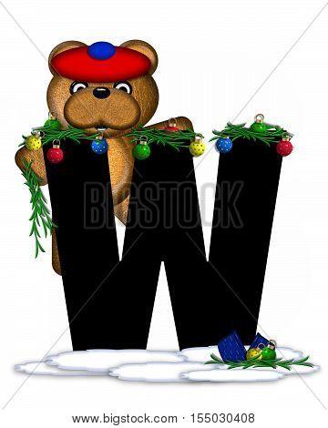 Alphabet Teddy Christmas Boughs W