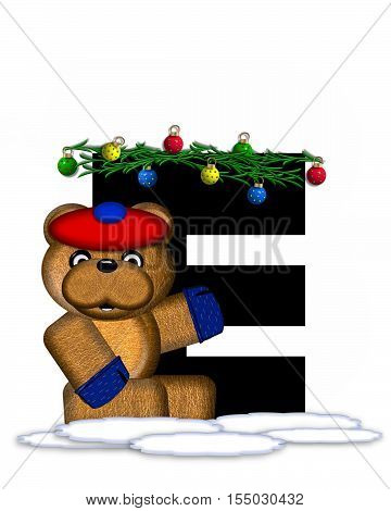 Alphabet Teddy Christmas Boughs E