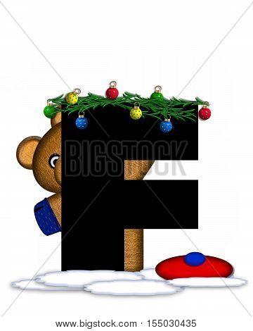 Alphabet Teddy Christmas Boughs F