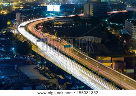 City highway road curved long exposure night view