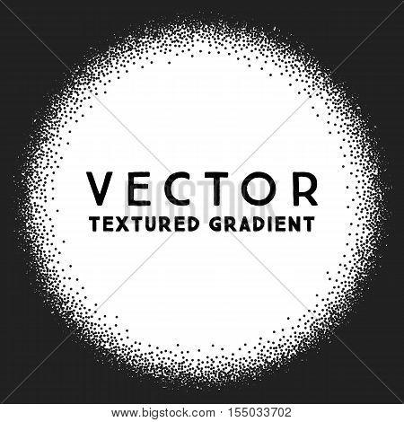 Monochrome Stippled Round  Gradient Texture, Abstract Noir Background