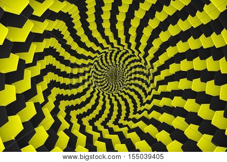abstract background of yellow boxes with black twisted 3d illustration