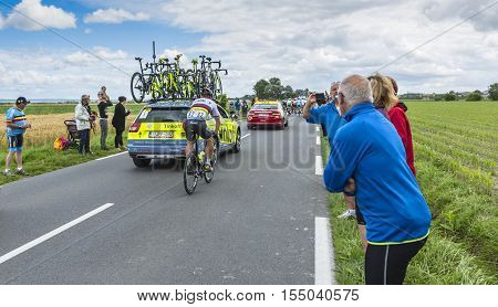 Ardevon France - July 2 2016: The Slovak cyclist Peter Sagan of Tinkoff Team taking the start of Tour de France at Km 0 close to Mont Saint Michel Monastery in ArdevonFrance on July 22016.