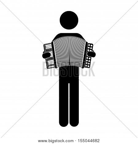 silhouette of musician man playing an accordion musical instrument icon over white background. vector illustration