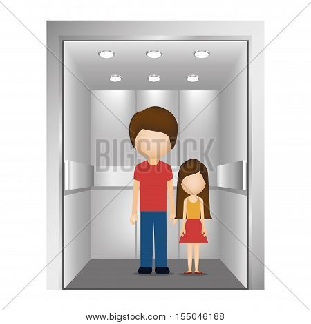 cartoon man with a girl inside elevator icon over white background. vector illustration