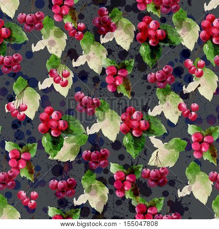 Watercolor painting cherry & Ilex Annual 2560/2017 Seamless design pattern is a natural markings.A red fruit a fruit for Christmas.Scene background texture watercolor drops.