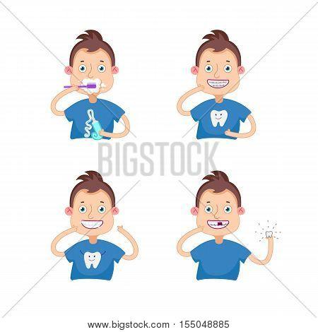 Set Vector illustration.Dental children illustration.Beautiful, perfect smile, healthy teeth.Boy with braces.Boy lost a tooth.Boy brushing teeth.