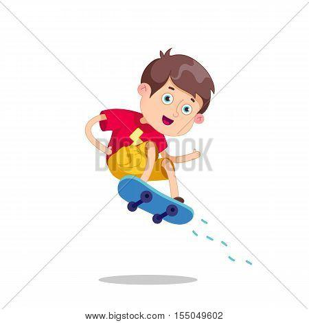 Funny cartoon character. Vector illustration.Skateboarding boy.Happy Cartoon Skateboard Boy