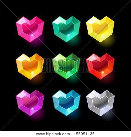 Set of cartoon heart different color crystals, gemstones, gems, diamonds vector gui assets collection for game design.isolated vector elements.Gui elements, vector games assets.menu for mobile games