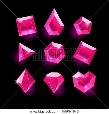 Set of cartoon pink different shapes crystals, gemstones, gems, diamonds vector gui assets collection for game design. isolated vector elements. Gui elements, vector games assets. menu for mobile games