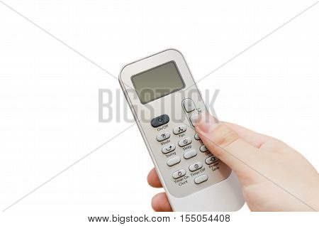 Hand holding remote control isolated on white. air conditioner remote control isolated concept
